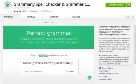 Favorite Chrome Extension for Writing: Grammarly