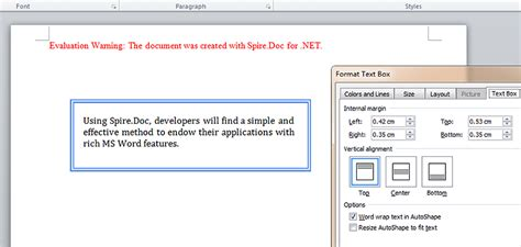 How to set internal margin for Word text box in C#