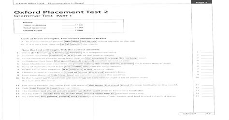 Oxford Placement Test 2 - [PDF Document]