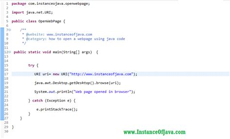 How to open a webpage using java code - InstanceOfJava