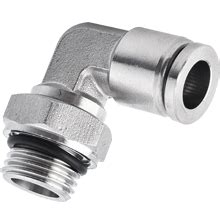10 mm x BSPP, G 1/2 90-Degree Elbow Stainless Steel Push