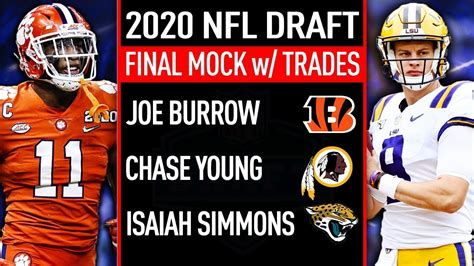 Final Full First Round 2020 NFL Mock Draft WITH TRADES