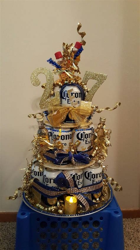 My sister and I made this Corona cake for my boyfriends
