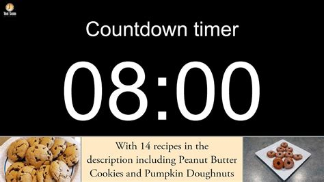 8 minute Countdown timer with alarm (including 14 recipes