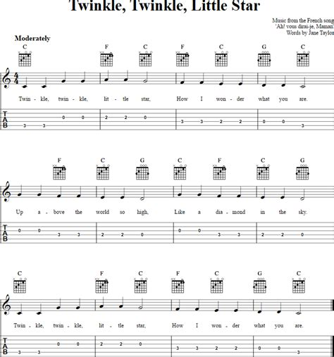 Twinkle, Twinkle, Little Star: Chords, Sheet Music, and