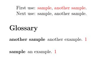 Latex glossaries: Hyperref/Link only the first occurance