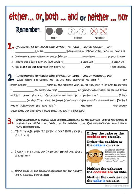 BOTH - EITHER - NEITHER - English ESL Worksheets for