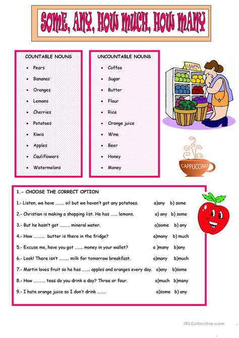 SOME, ANY, HOW MUCH, MANY - English ESL Worksheets for