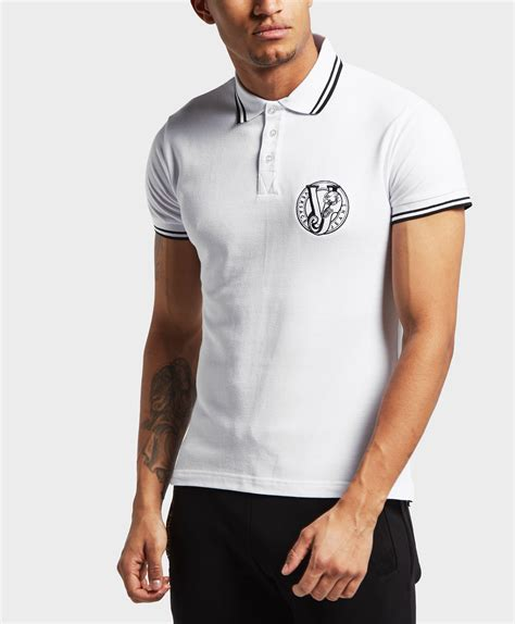Lyst - Versace Tipped Logo Short Sleeve Polo Shirt in